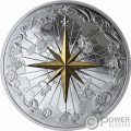 ROSE OF THE WINDS Rosa Vientos Chapado Oro 5 Oz Moneda Plata 50$ Canada 2019
