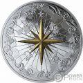 ROSE OF THE WINDS Rosa Vientos Chapado Oro 5 Oz Moneda Plata 50$ Canada 2019