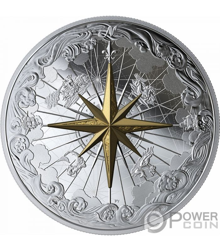 Rose Of The Winds Gold Plating 5 Oz Silver Coin 50 Canada