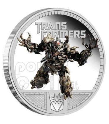 TRANSFORMERS MEGATRON Dark Of The Moon Hasbro Moneta Argento 1$ Tuvalu 2011