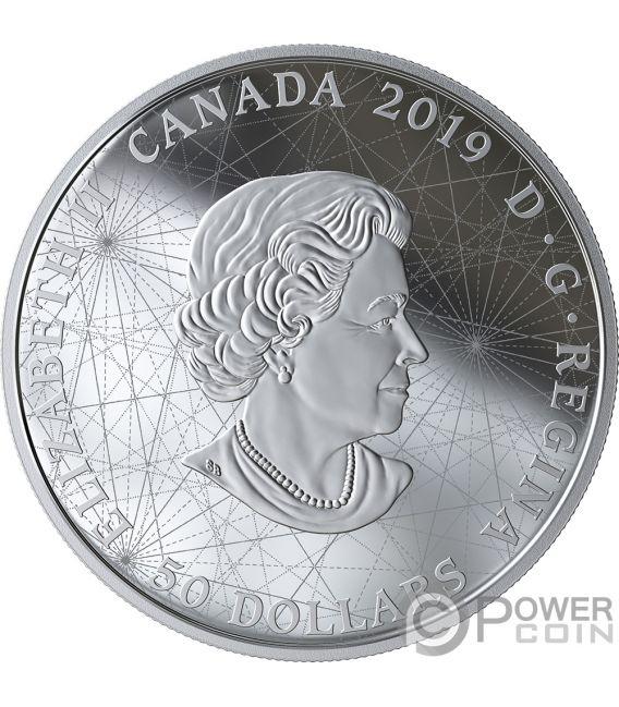 ROSE OF THE WINDS Rosa Venti Placcatura Oro 5 Oz Moneta Argento 50$ Canada 2019