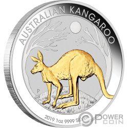KANGAROO Canguro Placcatura Oro 1 Oz Moneta Argento 1$ Australia 2019