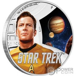 CAPTAIN KIRK Star Trek Original 1 Oz Moneta Argento 1$ Tuvalu 2019