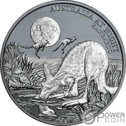 KANGAROO Canguro Australia at Night 1 Oz Moneda Plata 1$ Niue 2019