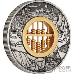ABACUS Счеты 2 Oz Серебро Монета 2$ Тулаву 2019
