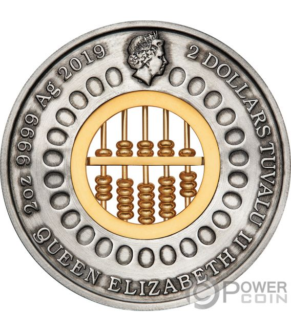 ABACUS 2 Oz Silver Coin 2$ Tuvalu 2019