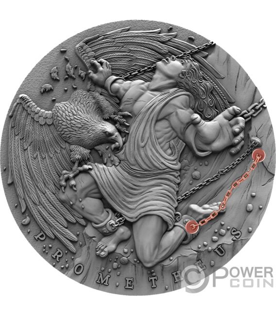 PROMETHEUS Prometeo Ancient Myths 2 Oz Moneda Plata 5$ Niue 2019