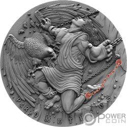 PROMETHEUS Prometeo Ancient Myths 2 Oz Moneta Argento 5$ Niue 2019