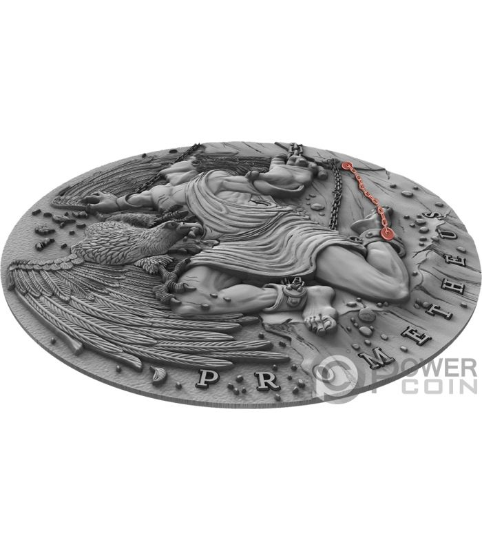 Ancient Myths 2 Oz Silver Coin With Red Gold Plated Chain 2019 Prometheus