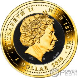 ONYX SCARABAEUS Древний Cимвол Монета Серебро 1$ Ниуэ 2019