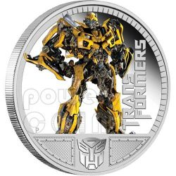 TRANSFORMERS BUMBLEBEE Dark Of The Moon Hasbro Moneta Argento 1$ Tuvalu 2011