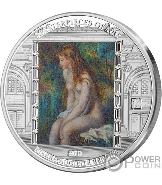 YOUNG GIRL BATHING Masterpieces of Art 3 Oz Silver Coin 20$ Cook Islands 2019