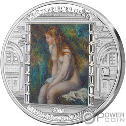 YOUNG GIRL BATHING Ragazza Masterpieces of Art 3 Oz Moneta Argento 20$ Cook Islands 2019