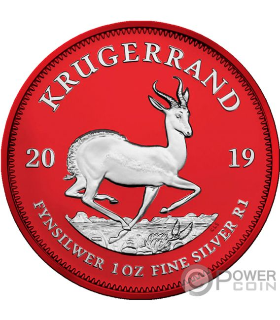 KRUGERRAND Space Red 1 Oz Moneda Plata 1 Rand South Africa 2019