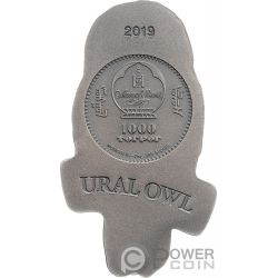 URAL OWL Eule 2 Oz Silber Münze 1000 Togrog Mongolia 2019