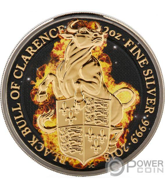 BURNING BULL Бык Огонь  Королева Звери 2 Oz Монета Серебро 5£ Англия 2018