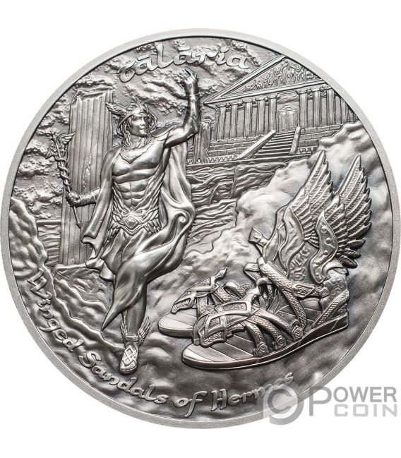 TALARIA Alas Hermes Mythology 2 Oz Moneda Plata 10$ Cook Islands 2019