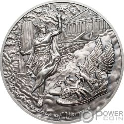 TALARIA Alas Hermes Mythology 2 Oz Moneda Plata 10$ Cook Islands 2019