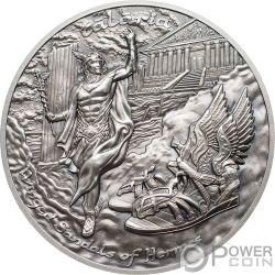 TALARIA Geflügelt Hermes Mythology 2 Oz Silber Münzen 10$ Cook Islands 2019