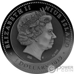 AMMONITE Fosil Ambar 2 Oz Moneda Plata 5$ Niue 2019