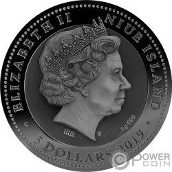 AMMONITE Fossil Amber 2 Oz Silver Coin 5$ Niue 2019