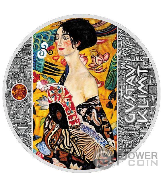 LADY WITH FAN Amber Gustav Klimt Golden Five Silver Coin 1$ Niue 2019