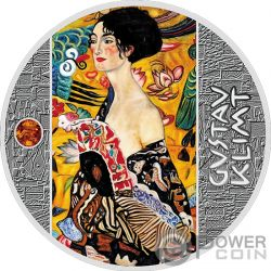 LADY WITH FAN Spektrum Bernstein Gustav Klimt Golden Five Silber Münze 1$ Niue 2019