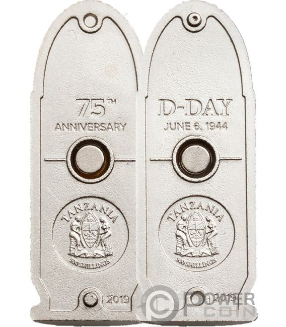 D-DAY Kugel 75 Jubiläum Landung Normandie Set 2 Silber Münzen 500 Shillings Tanzania 2019