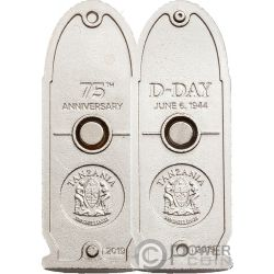 D-DAY Bullet 75th Anniversary Normandy Landing Set 2 Silver Coins 500 Shillings Tanzania 2019