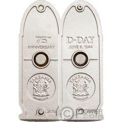 D-DAY Proiettile 75 Anniversario Sbarco Normandia Set 2 Monete Argento 500 Shillings Tanzania 2019
