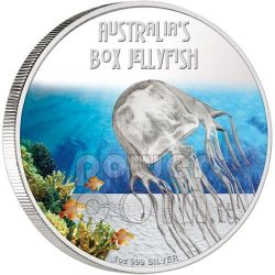 BOX JELLYFISH Australia Deadly Dangerous Medusa Moneta Argento 1$ Tuvalu 2011