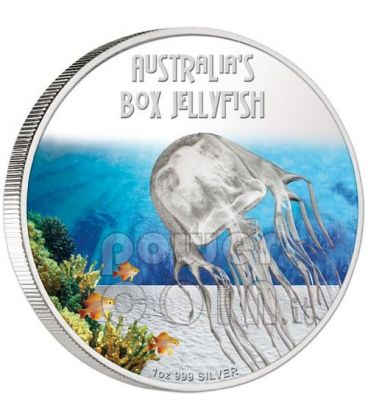 BOX JELLYFISH Australia Deadly Dangerous Silver Coin 1$ Tuvalu 2011