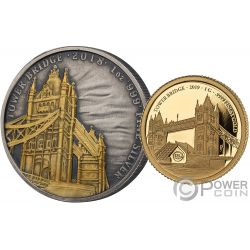 TOWER BRIDGE 175 Aniversario Set Moneda Plata Oro 2£ 10$ United Kingdom Solomon Islands 2018 2019