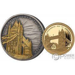 TOWER BRIDGE 175 Anniversario Set Moneta Argento Oro 2£ 10$ United Kingdom Solomon Islands 2018 2019