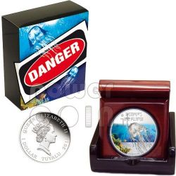 BOX JELLYFISH Australia Deadly Dangerous Silver Coin 1$ Tuvalu 2011