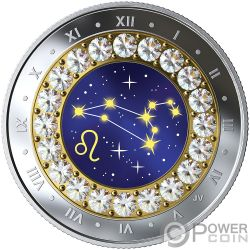 LEO Zodiac Swarovski Crystal Moneta Argento 5$ Canada 2019