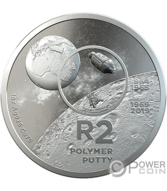 POLYMER PUTTY R2 Moon Landing 1 Oz Silver Coin 2 Rand South Africa 2019