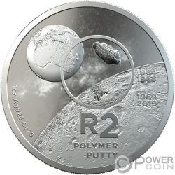 POLYMER PUTTY R2 Aterrizaje Luna 1 Oz Moneda Plata 2 Rand South Africa 2019