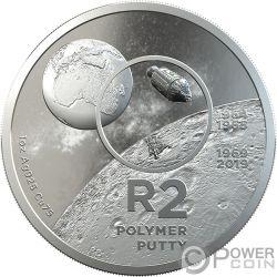 POLYMER PUTTY R2 Высадка на луне 1 Oz Монета Серебро  2 Рэнд Южная Африка 2019