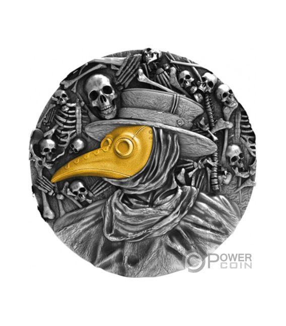 DR PESTILENCE MASK Pestilencia 2 Oz Moneda Plata 5$ Niue 2019