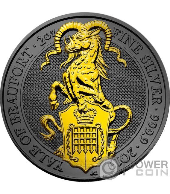 YALE QUEEN BEASTS Golden Ruthenium 2 Oz Moneta Argento 5£ United Kingdom 2019
