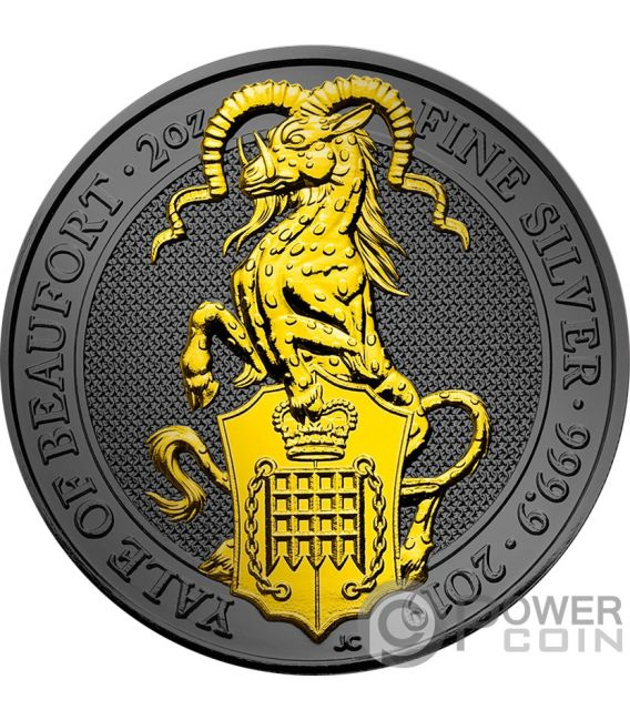 YALE QUEEN BEASTS Golden Ruthenium 2 Oz Silver Coin 5£ United Kingdom 2019