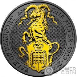 YALE QUEEN BEASTS Golden Ruthenium 2 Oz Moneda Plata 5£ United Kingdom 2019