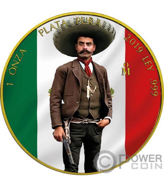 EMILIANO ZAPATA Revolution Libertad Vergoldet 1 Oz Silber Münze Mexico 2019