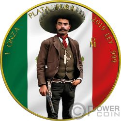 EMILIANO ZAPATA Revolution Libertad Gilded 1 Oz Silver Coin Mexico 2019