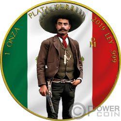 EMILIANO ZAPATA Rivoluzione Libertad Dorata 1 Oz Moneta Argento Mexico 2019
