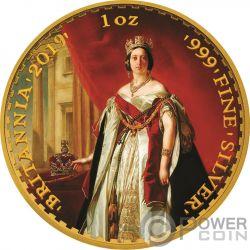 QUEEN VICTORIA 200 Aniversario Britannia Gilded 1 Oz Moneda Plata 2£ Pound United Kingdom 2019