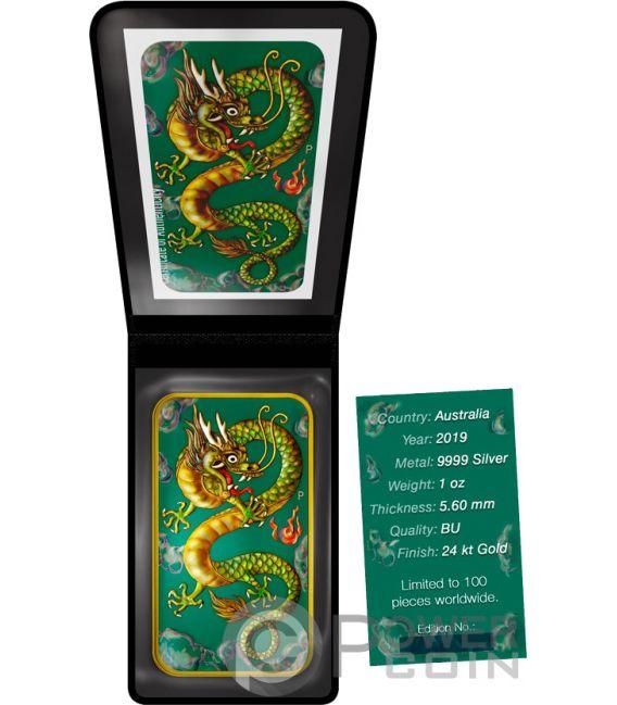 DRAGON Drachen Eingefärbt 1 Oz Silber Münze 1$ Australia 2019