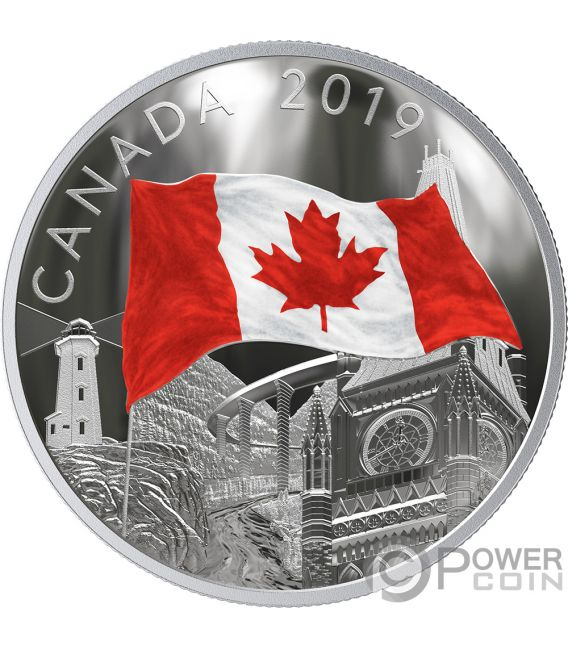 FABRIC OF CANADA Flag 2 Oz Silver Coin 30$ Canada 2019