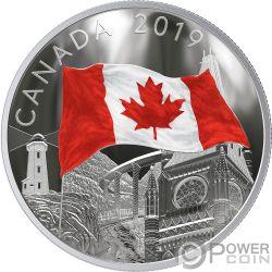 FABRIC OF CANADA Bandera 2 Oz Moneda Plata 30$ Canada 2019